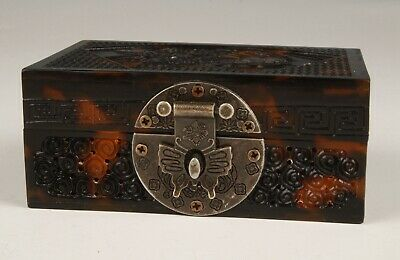 Chinese Animal Leather Handmade Carving Jewelry Gift Box Decoration Collection