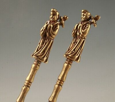 2 Rare Chinese Bronze Hand-Carved Belle Statue Spoon Old Collection