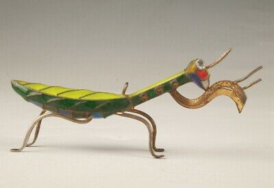 Precious Chinese Cloisonne Handmade Carving Mantis Statue Old Collection