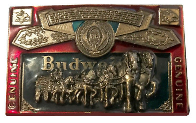 Vtg Budweiser Belt Buckle Clydesdale Label Alcohol Drinker Men's Horse Brass 70s