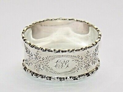 Good Quality Antique Edwardian Solid Silver Sterling Napkin Ring Hm Chester 1910