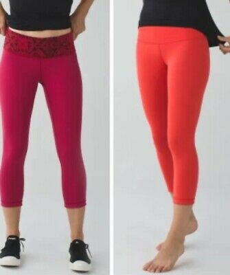 446a803f7 Lululemon Wunder Under III Cropped Pants Red Snake Orange Leggings Size 4  EUC