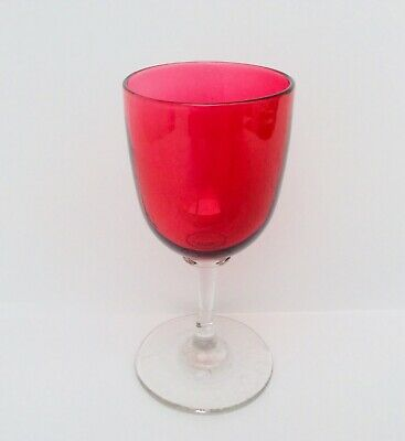 Antique 19th Century Victorian English Cranberry Wine Glass With Pontil Mark