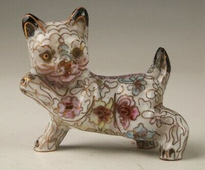 Rare Chinese Cloisonne Unique Handmade Carving Cat Statue Animal Old Collection
