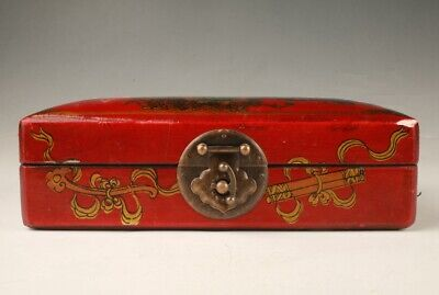 Rare Chinese Red Leather Unique Handmade Box Old Collection Gift