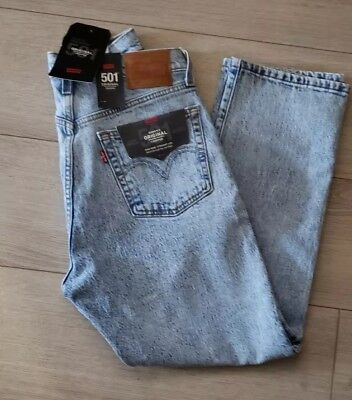 be31eaa276d LEVI'S PREMIUM 501 Stretch Big E Red Tab Original Cropped Jeans Stone Throw  28
