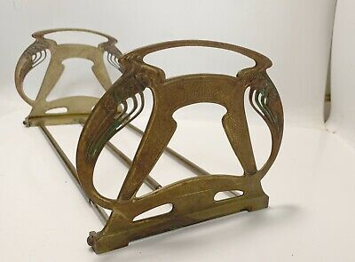 Antique Art Nouveau  Solid Brass Expandable Book Ends  -Rack