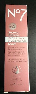 Boots No7 Restore and Renew Face & Neck Multi Action Serum 30 ml 1 Fl. Oz. #1030