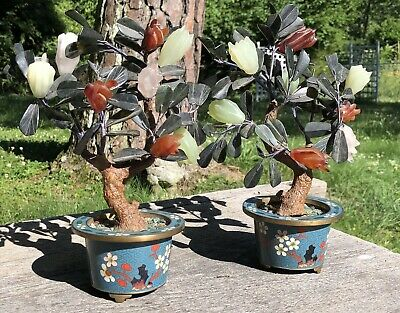 Pair Cloisonne Chinese Export Carved Stone Jade Trees