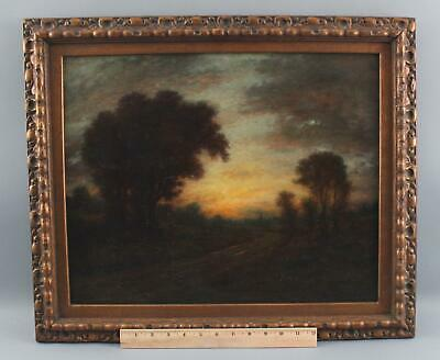 19thC Antique GARDNER RECKHARD American Tonalist Twilight Landscape Oil Painting