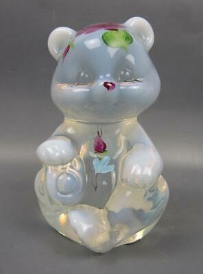 """Fenton COTTAGE ROSES French Opalescent Hand-Painted 3½"""" Bear 6246"""