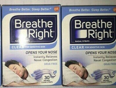 (60) Breathe Right Nasal Strips Sm/Med Clear ( 2 X 30 Ct Boxes )