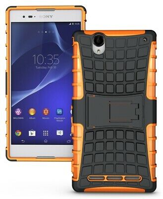 Neon Orange Grenade Grip Tpu Skin Hard Case Cover Stand For Sony Xperia T2 Ultra