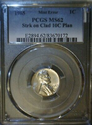 1965 PCGS MS62 Lincoln Cent on a CLAD Dime Planchet ERROR Off Metal Coin NO RES.