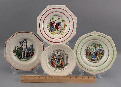 4 Antique 19thC Staffordshire Pearlware Childs Motto Plates, Biblical & July