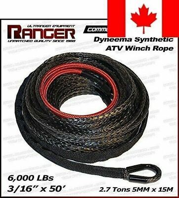 """Ranger 6,000 LBs 3/16"""" x 50' Dyneema Synthetic Winch Rope 5 MM x 15 M for ATV..."""