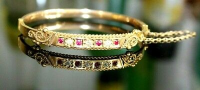 Antique Victorian 9Ct Gold Bangle / Bracelet. Diamonds & Garnets.