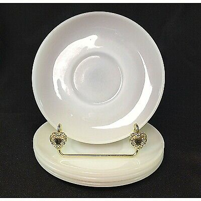 Vintage Anchor Hocking Fire King Milk Glass Saucers Thick and Heavy