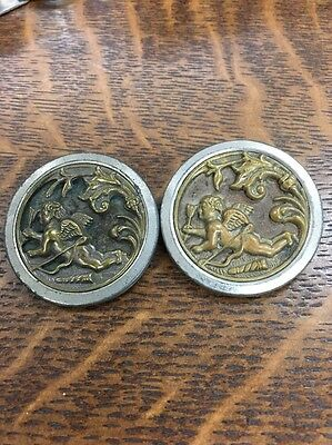 Pair Antique Angel Cupid With Arrow Large Brass Sewing Buttons