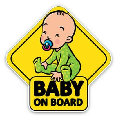 2Pcs Reflective Baby on Board Car Stickers Emblem Suction Safety Warning Signs