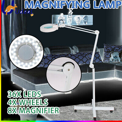 Magnifying Lamp Glass Light Round Head Fluorescents Bulbs 8x Magnifier 5 Wheels