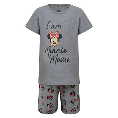 Girls Short Pyjamas Disney Ex Store I Am Minnie Mouse Grey Night Wear 3-14Y New