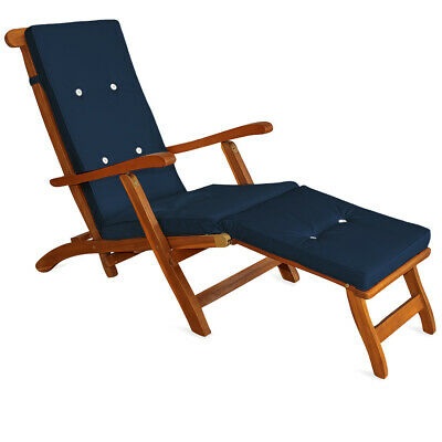 Sun Lounger Cushion Pad Steamer Loungers Seating Pads Blue Ties Outdoor Garden