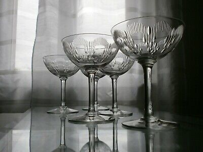 5 Anciennes Coupes A Champagne Cristal Baccarat Modele Moliere Catalogue 1916