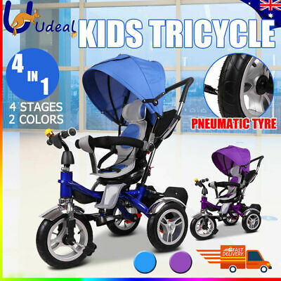 4 In 1 Baby Kids Toddler Tricycle Reverse Bike Trike Stroller Prams Ride On Toys