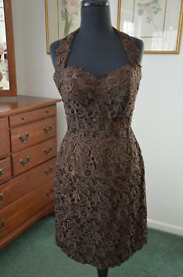 HELEN MORLEY for Bergdorf Goodman Cocoa Lace/Satin Halter Cocktail Party Dress S