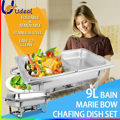 9L Chafing Dish Set Bain Marie Bow Buffet Pan Stainless Steel Food Warmer 4.5Lx2