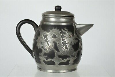 Fine Collectable Antique Chinese Yixing/Pewter Dragon Coffee Pot with mark