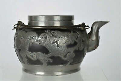 Fine Collectable Antique Chinese Yixing/Pewter Dragon Teapot - with mark