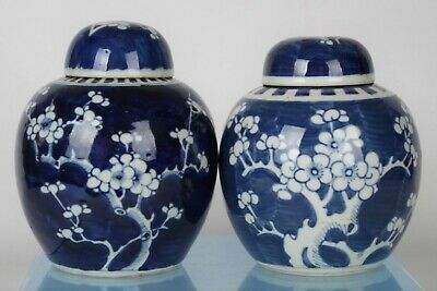 Two Antique Chinese Blue/White Hand-painted Prunus Ginger Jars - with mark