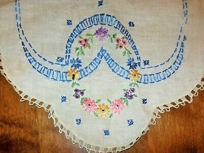 """Antique Linen Fine Hand Embroidered Italian Table Runner  36 X 15"""""""