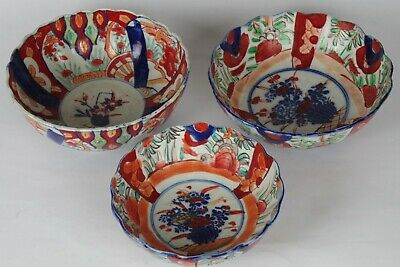 Three Fantastic Antique Japanese Hand-painted Bowls