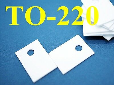 50 Ceramic TO-220 Sheets 14x20mm T0.6mm Insulator Pads Transistor Heat Sink