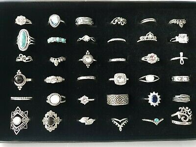 36 Rings Job Lot Mixed Vintage Modern 925 Marking Silver Rings 88g Joblot +Case