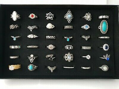 36 Rings Job Lot Mixed Vintage Modern 925 Marking Silver Rings 92g Joblot +Case