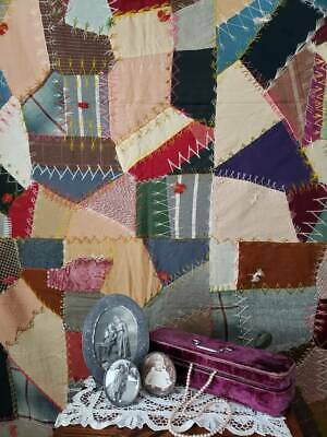 Antique c1890 Victorian Crazy Quilt Coverlet ~Lots of Fancy Stitching 76x74