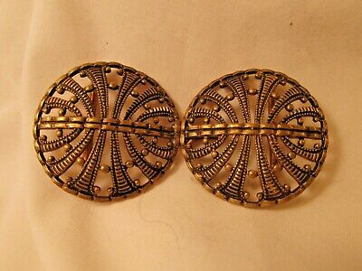 Vintage 2 Piece Filigree Dress Belt Buckle Unusual!  Antique Brass Finish EUC