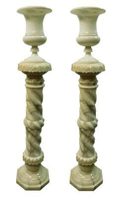 Pair Of Early 20Th C. Alabaster Pedestals & Vases (Previously Used As Lamps)