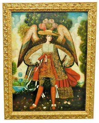 Cuzco School (20Th Century) Peruvian; Oil; Archangel Gabriel **Large Painting**