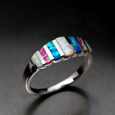 Gorgeous Silver Filled Women Wedding Rings Multi-color Ring Size 7-9 Jewelry Hot