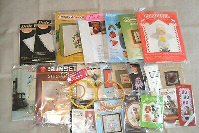 Lot of 21 sealed embroidery & craft kits plus 4 tools