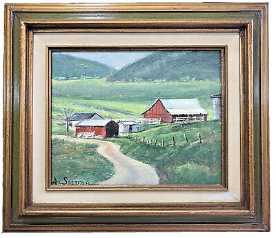 "Albert Alvin Stetter (1907-2008) ""Barns Near Bakersfield"" Oil On Board"