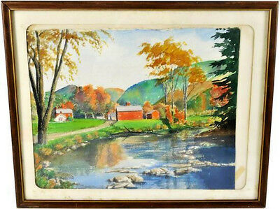 Edith Vail (American, 20Th C.) Autumn Landscape Red Farmhouse & Barns Watercolor