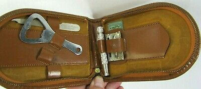 VTG Gillette Made In England Safety Razor Leather Valet Travel Case Sheffield