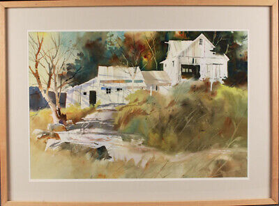 TONY COUCH Watercolor Painting FARM HOUSE Country Original Barn EXCELLENT