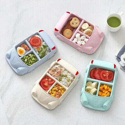 Divided Kids Food Tray Compartment Multicolor Cafeteria Car Pattern Baby Plate D